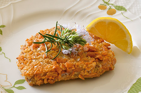 柔らかな肉の食感とともに、バターとハーブの香りが口いっぱいに広がる「グリッシノーポリ(トリノ風仔牛のカツレツ)」(3,800円)。この味を求めて度々訪れる客も多い、定番の一皿だ。カリカリしたスティック状のパン「グリッシーニ」を使った衣にはチーズを加え、香ばしさを増している。