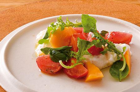 高知県産のフルーツトマトと宮崎県産マンゴーを使用した「フルーツトマトとマンゴーのカプレーゼ」。生クリームを使ったブラータチーズのミルキーさとトマトの爽やかさ、マンゴーの甘味が絶妙なバランスで調和する。素材そのものの味を楽しめるよう、味付けはオリーブオイルと塩コショウのみ。