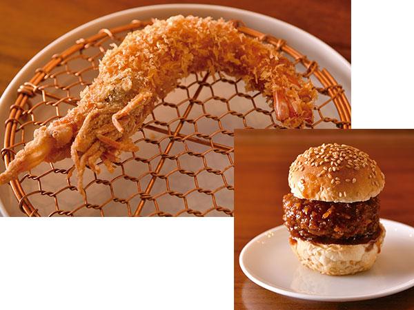 車海老のおいしさを丸ごと味わえる「生車海老のエビフライ」とジューシーな味わいがたまらない「メンチカツ」。