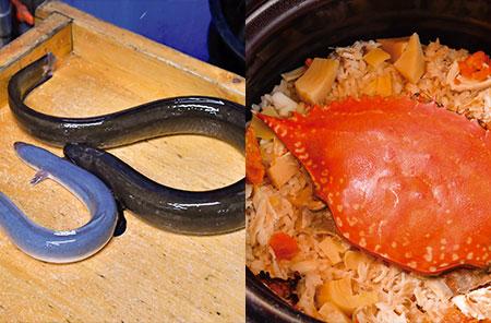 左.写真上が天然うなぎ。緑がかった濃い色が特長。味が均質の養殖ものと違い 仕入れの目利きが重要。 右.蟹の出汁がしみ込んだ「渡り蟹の炊き込みご飯」。