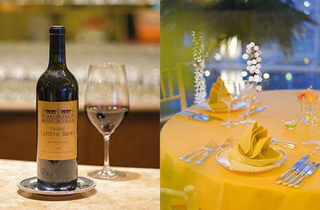 左)肉料理に合わせたい「ChateauCantenac Brown」。バランスのとれたエレガントで豊かなアロマが特長。右)「皿の上の芸術」を盛り立てる、テーブルウェア。